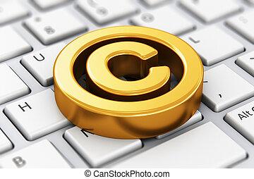 símbolo, computador, direitos autorais, teclado