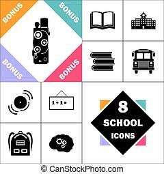 símbolo, computador, retro, cinema