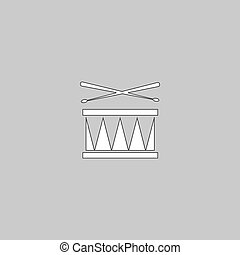 símbolo, computador, tambor
