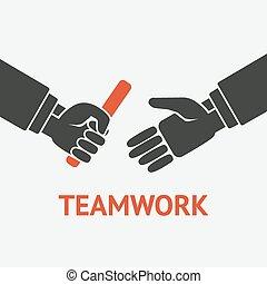 símbolo, conceito, trabalho equipe, relé