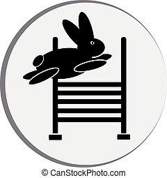 símbolo, conejo, jump.