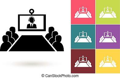 símbolo, conferencia, vector, o, vídeo, icono