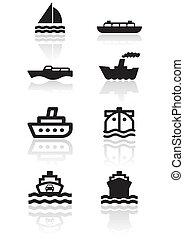 símbolo, conjunto, barco, ilustración
