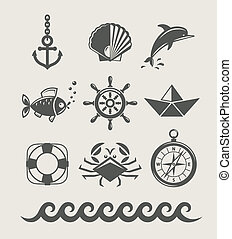 símbolo, conjunto, marina, mar, icono