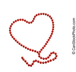 símbolo, coração, de, contas