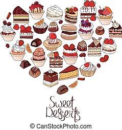 símbolo, coração, feito, de, diferente, desserts., frase, doce, desserts., para, seu, desenho, anúncios, postais, cartazes, restaurante, menu.