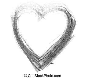 símbolo, coração, grunge, grafita