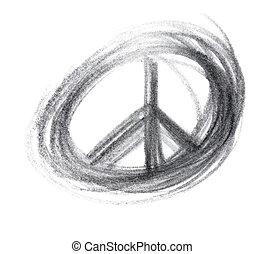 símbolo, coração, grunge, lápis grafita
