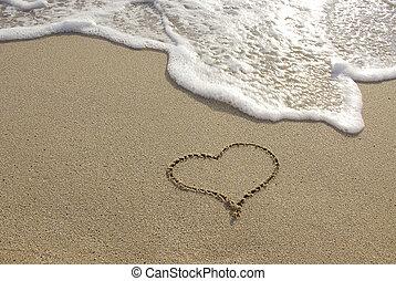 símbolo, coração, praia