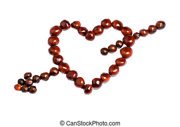 símbolo, coração seta, -, castanhas