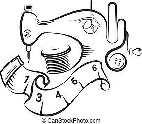 símbolo, cosendo, desenho