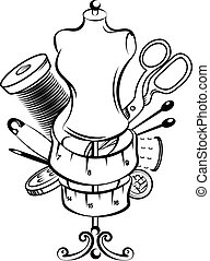 símbolo, cosendo, jogo, mão