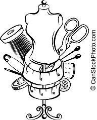 símbolo, costura, conjunto, mano
