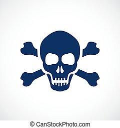 símbolo, crânio humano, perigo