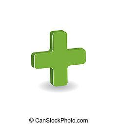 símbolo, -, crucifixos, farmácia, verde branco