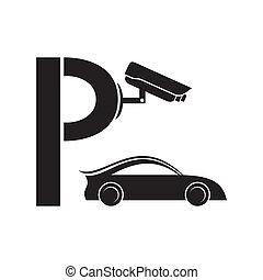 símbolo, cuidadoso, estacionamento