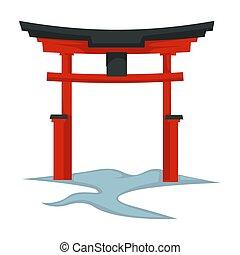 símbolo, cultura japonesa, oriental, arquitectura, puerta,...