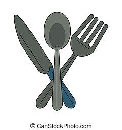 símbolo, cutelaria, cozinha