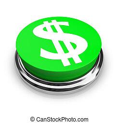 símbolo dólar, -, botón, nosotros