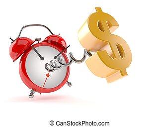 símbolo, dólar, despertador