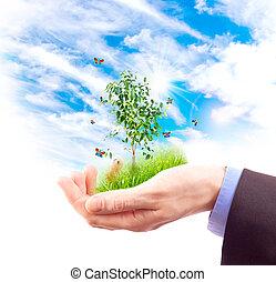 símbolo, de, a, environment., collage.