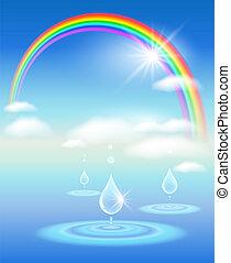 símbolo, de, agua limpia