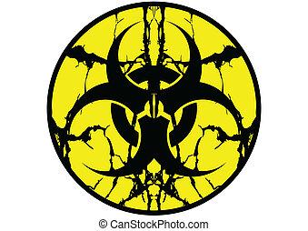 símbolo de biohazard, etiqueta, saliva, arriba