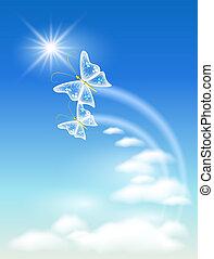 símbolo, de, ecología, aire limpio