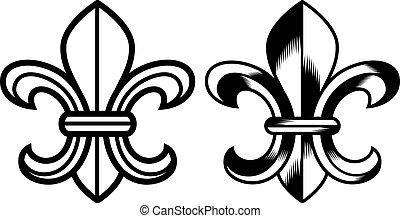 símbolo, de, fleur, lis