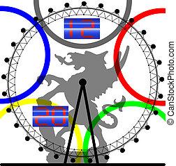 símbolo, de, la ciudad, de, londres, en, el, reloj