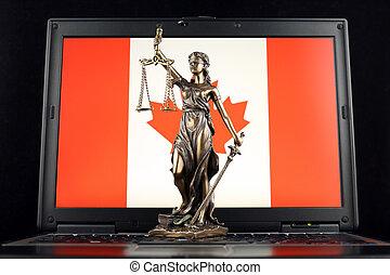 símbolo, de, lei, e, justiça, com, bandeira canadá, ligado, laptop., estúdio, tiro.