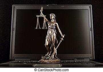 símbolo, de, lei, e, justiça, ligado, laptop., estúdio, tiro.