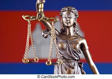 símbolo, de, ley, y, justicia, con, camboya, flag., cierre, arriba.