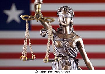símbolo, de, ley, y, justicia, con, liberia, flag., cierre, arriba.
