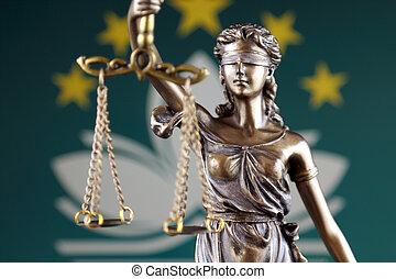 símbolo, de, ley, y, justicia, con, macao, flag., cierre, arriba.