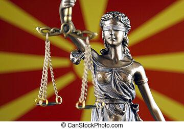 símbolo, de, ley, y, justicia, con, macedonia, flag., cierre, arriba.