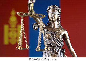 símbolo, de, ley, y, justicia, con, mongolia, flag., cierre, arriba.