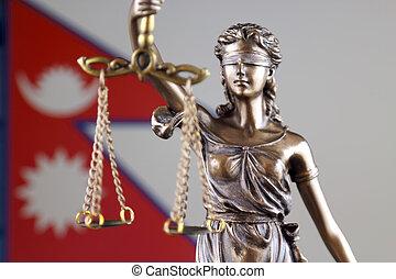 símbolo, de, ley, y, justicia, con, nepal, flag., cierre, arriba.