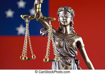 símbolo, de, ley, y, justicia, con, samoa, flag., cierre, arriba.