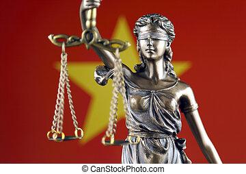 símbolo, de, ley, y, justicia, con, vietnam, flag., cierre, arriba.