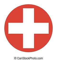 símbolo, de, medicina, cruz