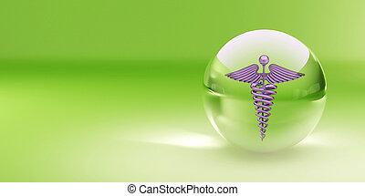 símbolo, de, medicina, en, vidrio, sphere., resumen, plano de fondo