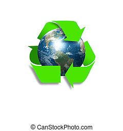 símbolo, de, meio ambiente, proteção, e, reciclagem