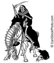 símbolo, de, mortos, sentando, ligado, um, cavalo