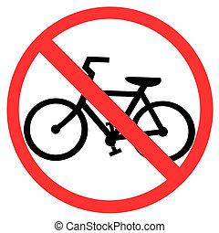 símbolo, de, no, bicicleta, señal, aislado, blanco