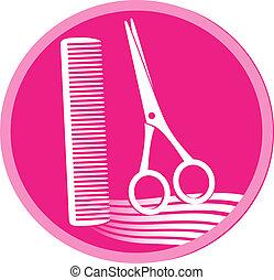 símbolo, de, salão cabelo, com, tesouras