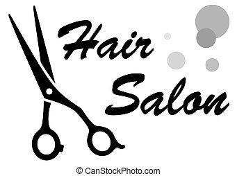 símbolo, de, salão cabelo