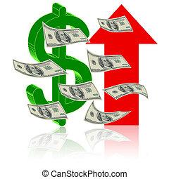 símbolo, de, sucesso, finanças