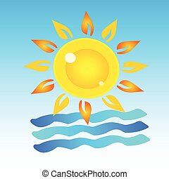 símbolo, de, verão, arte
