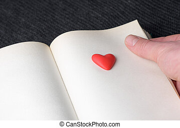 símbolo del amor, en, página, libro